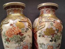 Meiji finest works applied designs of draped textiles Satsuma pottery 2 vases