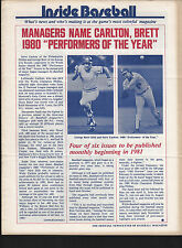 Inside Baseball Newsletter from Baseball Magazine 1980 Performers of the Year