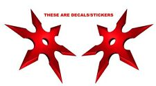 Sticker Set Ninja Throwing Chinese Star Red Weapon Decal Sticker