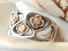 AUTHENTIC PANDORA ST.SILVER &14ct.GOLD AND DIAMONDS RING - 190154D/54-RETIRED
