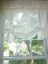 One POTTERY BARN Linen RIBBON TIE Curtain Drape Panel Shade WHITE 44x63