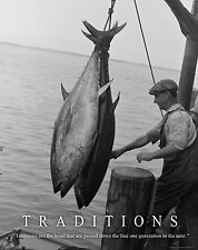 Salt Water Tuna Fishing Motivational Poster Art Vintage Lures Reels Rods MVP353