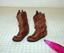 Miniature Prestige Leather Cowboy Boots BROWN (AGED): DOLLHOUSE 1/12 Scale