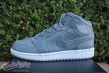 NIKE AIR JORDAN 1 MID BG SZ 7 Y COOL GREY WHITE WOLF GREY 554725 031