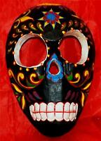 GOTHIC PUNK BLACK FLORAL VOODOO WOODEN TRIBAL MASK SKULL WALL HANGING PLAQUE