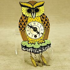 "Owl 4.5"" Mini Figure Clock Eyes Move Vintage West Germany Wood Plastic w Weights"