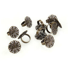 "10 Bronze Flower Filigree Adjustable Ring Blanks Base 1"" FASHION"