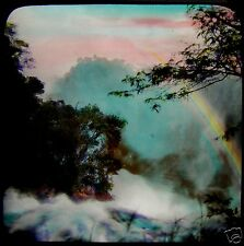 Glass Magic Lantern Slide THE VICTORIA FALLS NO2 C1910 ZIMBABWE PHOTO RAINBOW