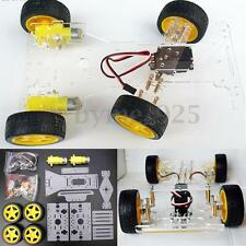 Acrylic Steering engine 4 wheel 2 Motor Smart Robot Car Chassis kits DIY 265mm