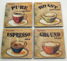 Wooden Coasters Coffee Espresso Cappuccino Vintage Inspired Set of 4
