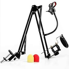 Recording Microphone Stand with Mic Wind Pop Filter Mask Shield and Phone Holder