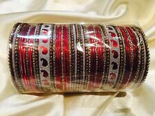 2.8 L Bollywood Bangles Bracelets Indian Wedding Jewellery Red Gold Silver L2