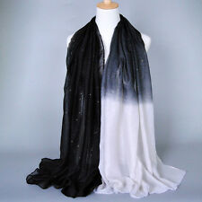 Glitter Women Long Voile Scarf Soft Gradient Style Pashmina Wrap Shawl Stole