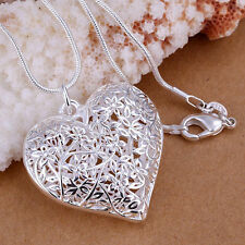 Elegant Hot New Silver Plated Hollow Heart Charm Pendant Necklace..