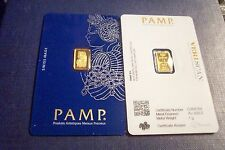 NEW MINT SEALED 1 GRAM GOLD VERISCAN FORTUNA PAMP SUISSE .9999 PURE GOLD