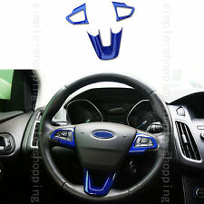 3x High Quality Plastic Interior Steering Wheel Cover Trim Blue For Focus 14-16