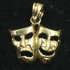 14k Yellow Gold Comedy Drama Thearter Mask Pendant