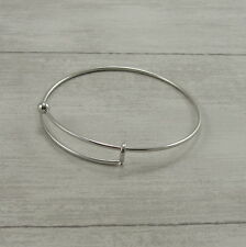 Stainless Steel Adjustable Bangle - Silver Expandable Ball End Charm Bracelet