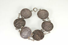 COIN BRACELET IN STERLING SILVER Antique 1800 Peruana Lima Coins Estate Jewelry