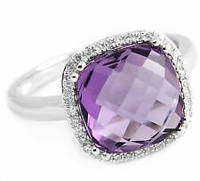 4.70ct CUSHION-CUT AMETHYST & DIAMONDS 14K WHITE GOLD COCKTAIL RING
