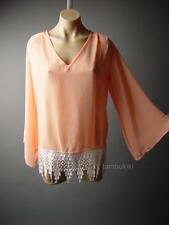 Pastel Peach Flare Bell Sleeve Crochet Lace Frill Hem Sheer Top 76 ac Blouse L