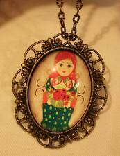 Scalloped Rim Brasstn Red Green Christmas Russian Doll Pendant Necklace Brooch
