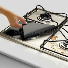 4Pcs Foil Gas Hob Protector Liner Reusable Non Stick Dishwasher Easy Clean Black