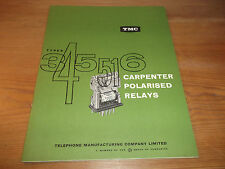 TMC Catalogue Telephone Manufacturing Company Carpenter Polarised Relays 1960's