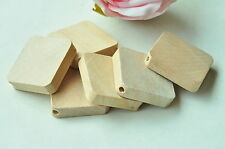15pcs Square Wood Bead Natural Unfinished Wooden Rectangle Craft Handmade Punk