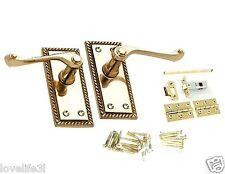 GEORGIAN POLISHED BRASS LEVER LATCH SCROLL DOOR HANDLE HINGES SPINDLE SCREW PACK
