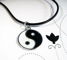 Black & White Yin Ying Yang Charm Pendant Leather -Ette Necklace