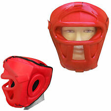 Rex Leather Head Guard Protector Helmet Face Guard With Visor Bar  Red