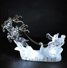 Acrylic Reindeer Sleigh With Santa Light Up White LED Christmas Window Ornament