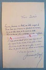"""P.A.S Fernand GREGH - Poème signé """"VERS DORES"""" (L'or des minutes) Autographe LAS"""