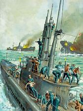 PAINTINGS SEASCAPE NAVAL BATTLE JAPAN USA DESTROYER ART POSTER PRINT LV3453