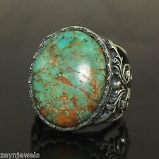 925 Solid Sterling Silver Unique Handmade Genuine Persian Turquoise Firuze Ring
