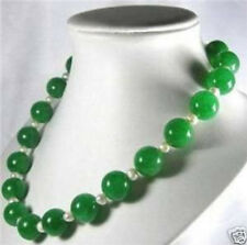 """Lovely 12MM emerald Necklace akoy pear6-7mm 18"""""""