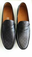 NEW Gucci 11 G 12 Black Leather Diamante Drivers Loafers Shoes 255350 Men's
