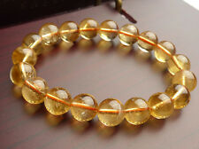Wholesale Natural Yellow Citrine Quartz Crystal Round Beads Bracelet 10mm