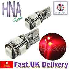 2 x 501 T10 W5W ERROR FREE CANBUS 5 SMD LED RED Side Light Interior UK BMW