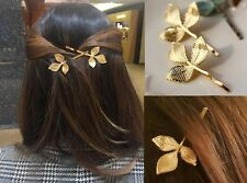 NiX 1390 1Pc Fashion Vintage Leaves Golden Metal Side Hair Pin Hair Clip Women