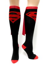 Superman Chest Logo Black and Red Knee High Derby Socks with Cape, NEW UNUSED