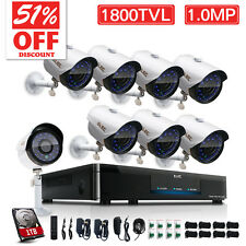 ELEC 1800TVL 8CH 960H HDMI DVR Outdoor Video CCTV Security Camera System 1TB HDD