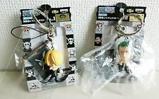 ONE PIECE Pirate flag & Figure strap SANJI ZORO key ring BANPRESTO JAPAN F/S