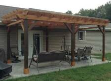 Covered Pergola Plans Design, Patio, How to build 12x18' Instruction + blueprint