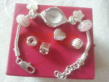 Accurist Truth Charm Silver Plated Bracelet watch +Four Beads