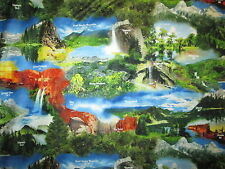 NATIONAL PARKS LANDSCAPE CAMPING 20th ANN COTTON FABRIC BTHY