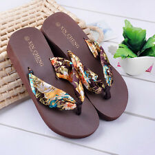 Summer Bohemia Floral Beach Sandals Wedge Platform Thongs Slippers Flip Flops