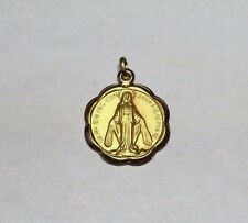 10 Karat Yellow Gold Miraculous Virgin Mary 18mm Medal