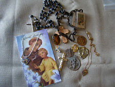 Lot of VTG Assorted Religious Catholic Medals Rosary Beads Necklaces 41503